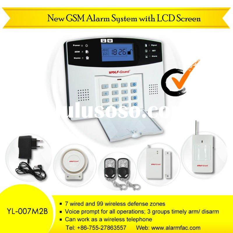 99 Wireless defense zones,GSM Home Security Alarm System With Keypad, LCD Screen, Voice (YL-007M2B)