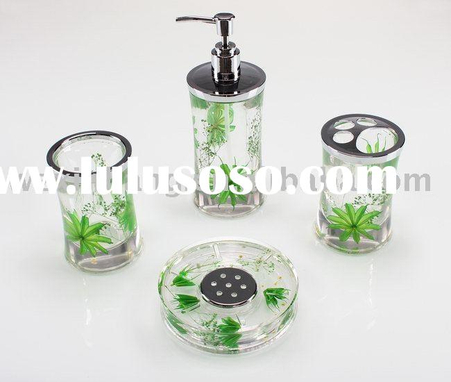 Acrylic bathroom set, 4pcs liquid bathroom accessory set