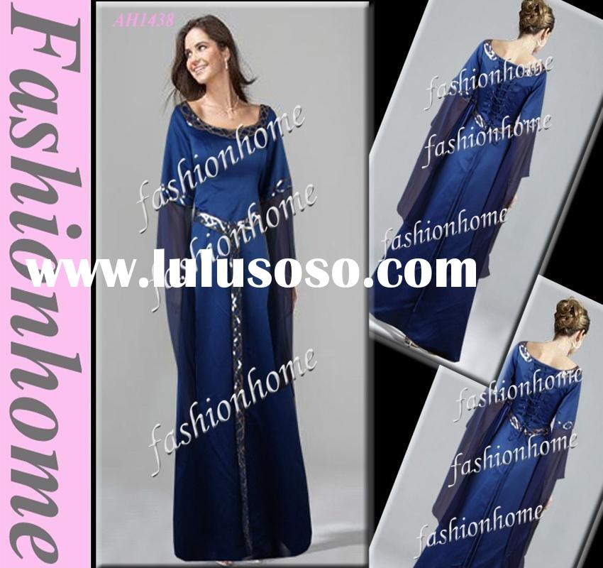 Attractive Royal blue scoop neckline floor length evening dress lady dress with long sleeve AH1438
