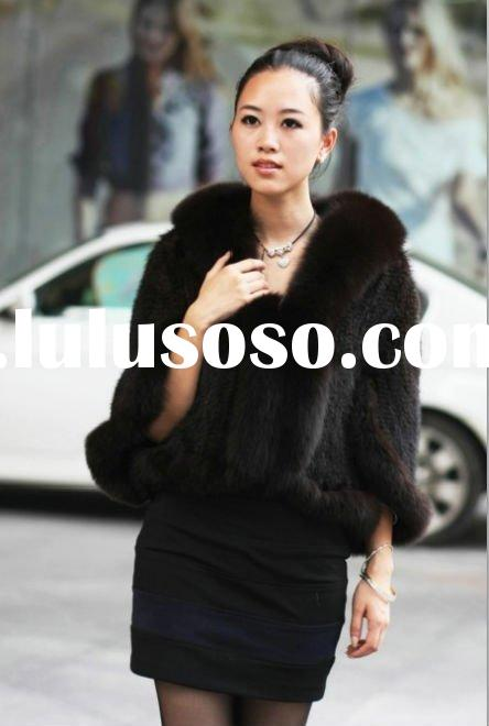 BY-M-J008 New&Short Style Ladies' Knitted Mink Jacket with Fox Collar-Mink Coat