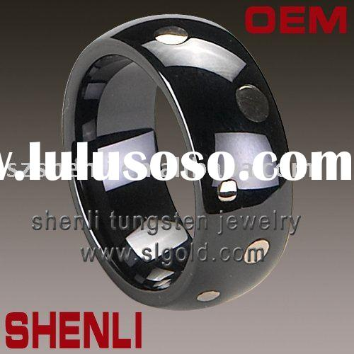 Black Ceramic Wedding Bands Inlay gold product feature Black Ceramic Wedding