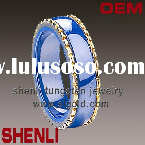 His Her Blue Matching Wedding Bands Titanium Rings Set