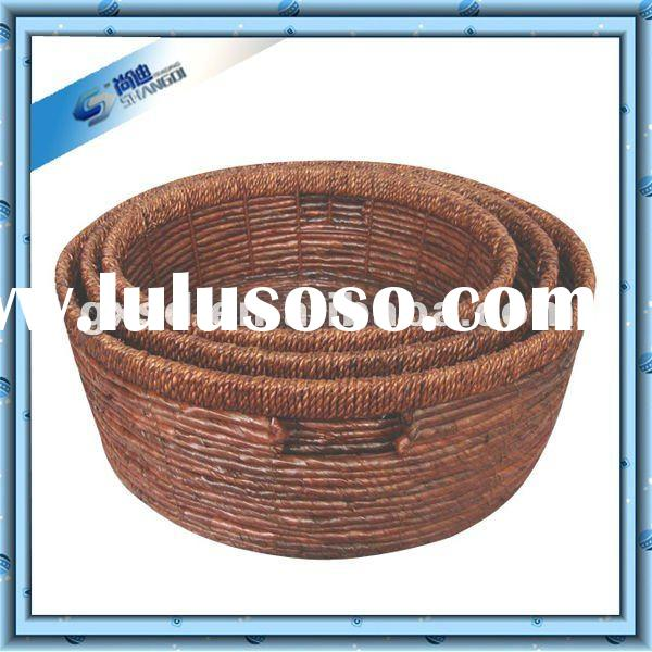Brown banana leaf round food storage basket set of 3