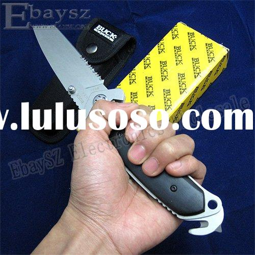 Buck K-855 Saw Blade Razor King Folding Knife, Hunting Knife, Camping Knife With Nylon Holster DZ-14