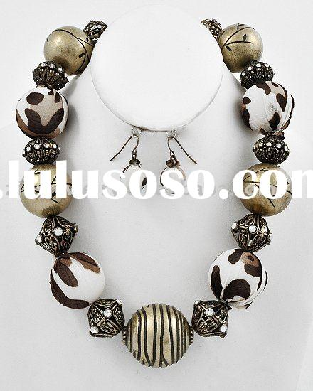 Burnished Gold Tone Brown Leopard Print Fabric Ccb Beads Lead Compliant Necklace Fish Hook Earring S