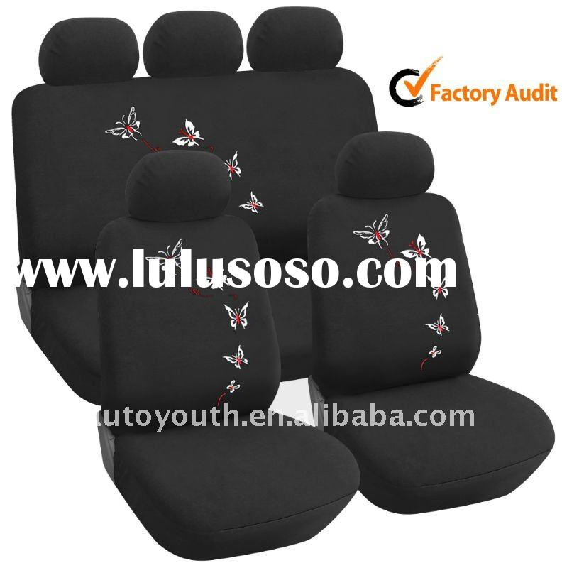 Car Seat Cover Full set Black with Red Butterfly Embroidery