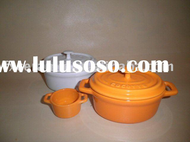 Ceramic bakeware set with lid(ceramic baking dish, roast pan, mini cocotte, casserole, serving tray,