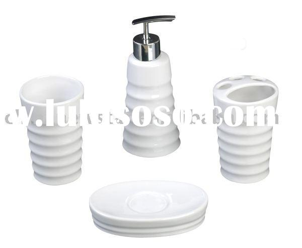 Ceramic bath accessories,soap dish,toothbrush holder,cup,dispenser bathroom set,bathroom accessories
