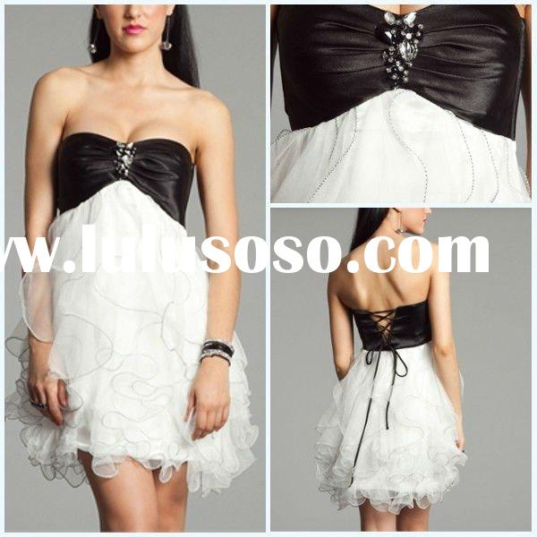 Cheap 2011 New Lovely Beautiful Strapless Sheath Ruffle Beaded Tulle Prom Dresses With Free Shipping