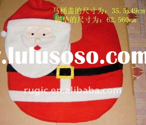 Christmas Santa Claus felt toilet seat cover decoration, Christmas Santa Claus closestool cover deco