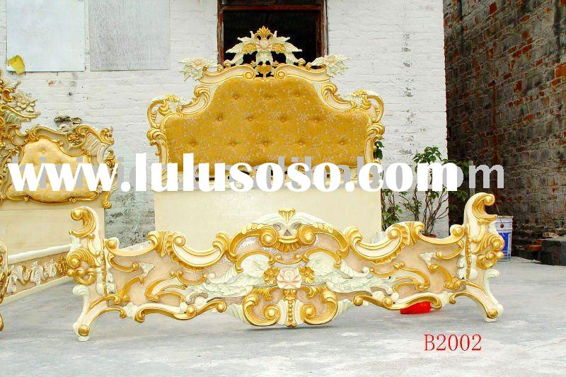 Classical & antique wooden luxury bed, king size bed, gold color,hand carving