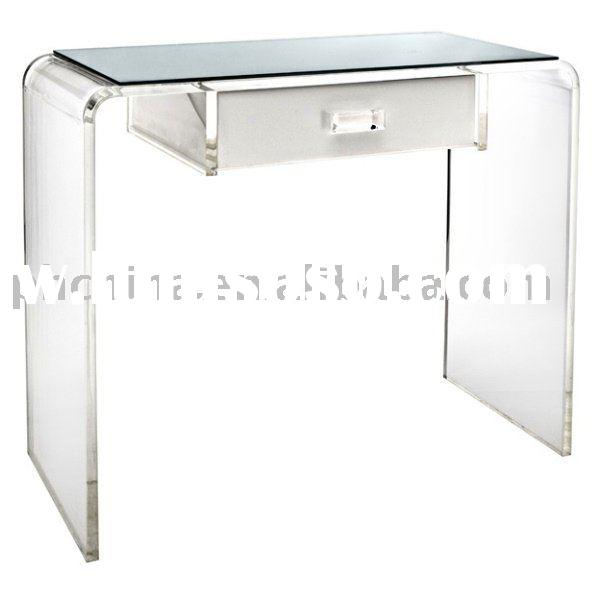 Clear Acrylic Waterfall Vanity Table;Clear Plexiglass Vanity Table;Clear  Lucite Vanity Table;