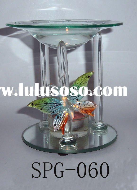 Colorful Butterfly glass incense oil burner set