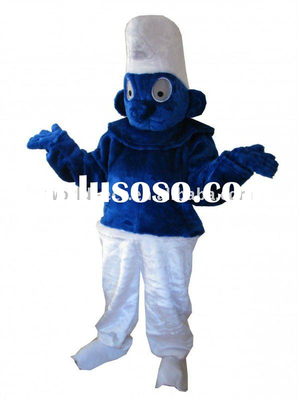 Cosplay Smurf Mascot Costume,Fur Cartoon Costume,Fancy Dress Costume