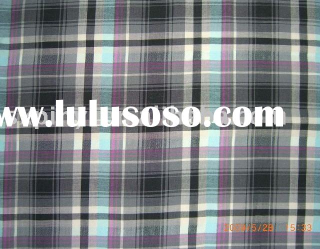 Cotton/Viscose Check Yarn-dyed Fabric