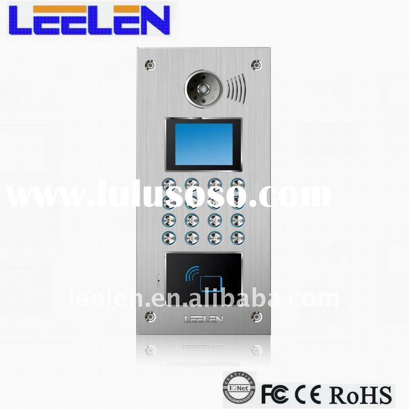 Digital access control system with ID card or PIN code to release the door, touch screen button is o
