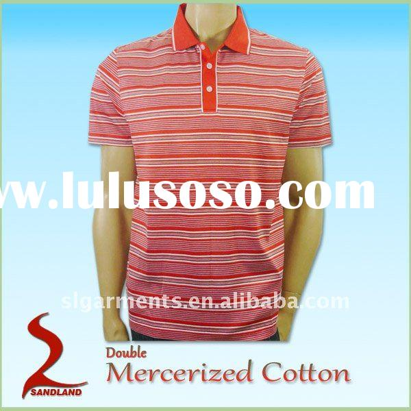 Double mercerized cotton Yarn dyed Striped mens polo shirt