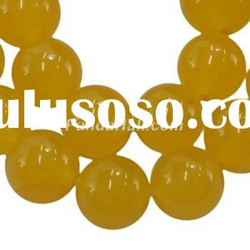Dyed Jade Beads Strands, Yellow Aventurine, Round, about 12mm in diameter, hole: 1mm; about 33pcs/st