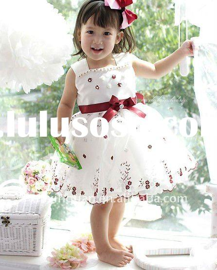 FGR014 Free Shipping lace floral little queen flower girl dress for wedding with bow sash
