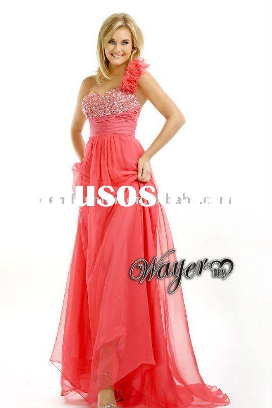 Famous Design One-shoulder Stunning Beaded Red Chiffon Prom Dress HL-EN703