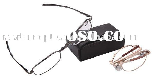 Fashionable Metal pocket foldable reading glasses with clip case (RM110017)
