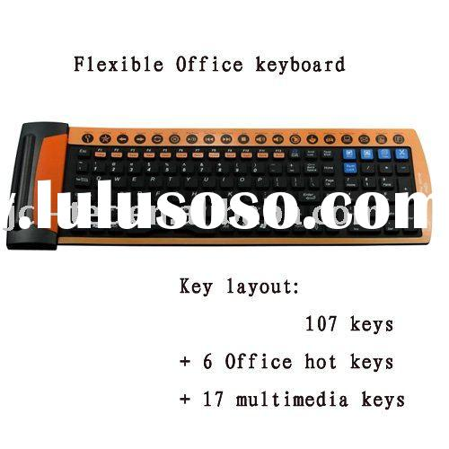 Flexible Office silicone Keyboard 130 keys with Office hot keys and multimedia keys