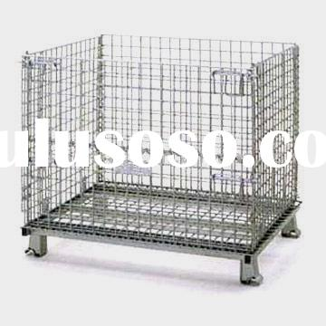 Folding steel wire mesh pallet Suitable for double stacking