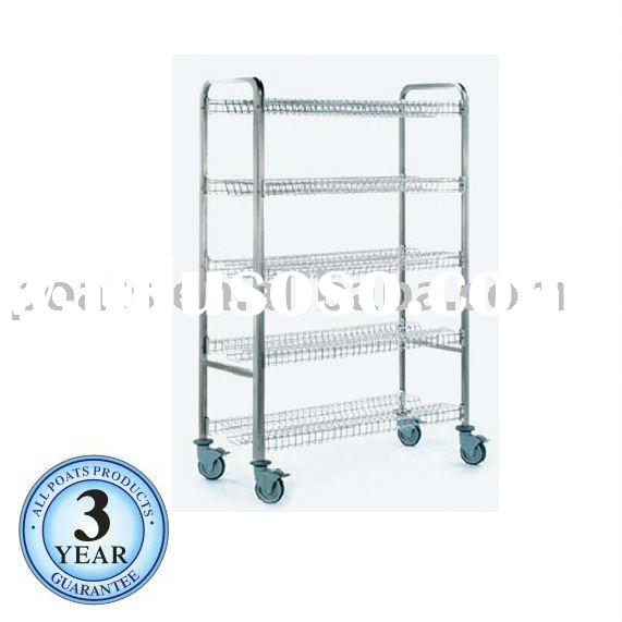 Food containers storage, stainless steel trolley,5-tier storage rack