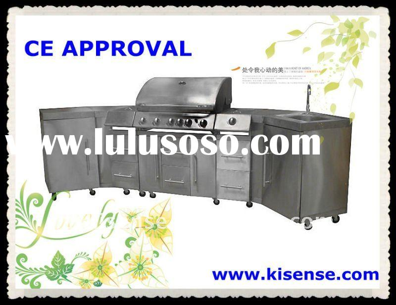 Full fuctional CE approved 5 burners with side burner and sink BBQ gas grill