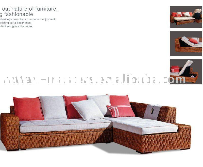 Functional L shape rattan sofa,Living room sofa set