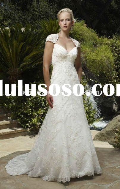 HS7050 New Fashion Lace Cap Sleeve Wedding Dress 2011