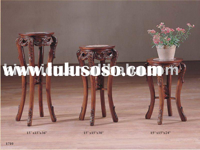 Hand carved antique flower stand with marble top,antique home furniture,solid wood furniture