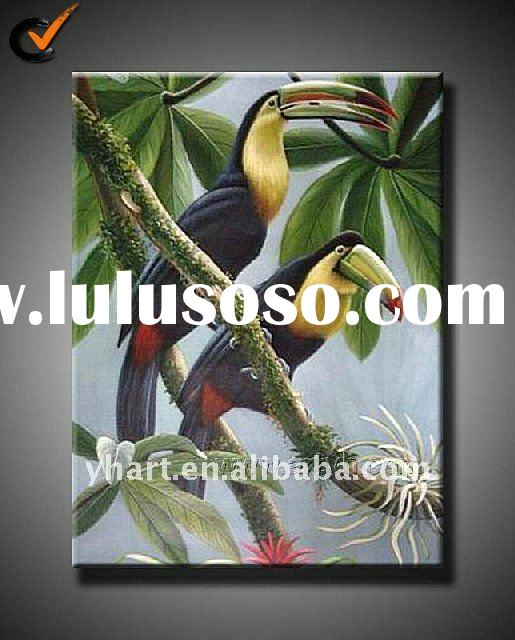 Handmade Canvas Birds Modern Oil Painting