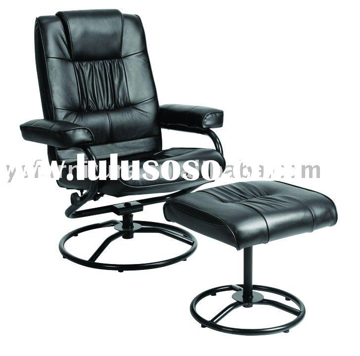 High Back Leather Chair with footstool