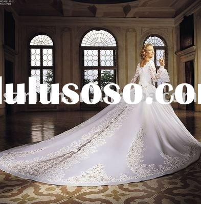 High Quality Satin with Embroidery Asymmetrical Royal Cathedral Train Bridal long Wedding Dress