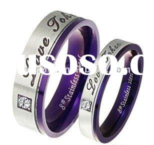 His & Her purple Matching Wedding Bands Titanium Rings Set