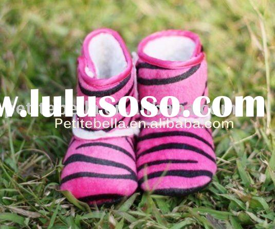 Hot Pink Zebra Newborn Baby Boots Pettishoes Crib Shoes MASB02