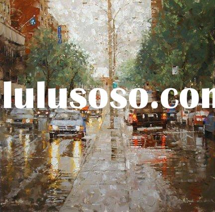 Impression landscape oil painting,street scenery painting