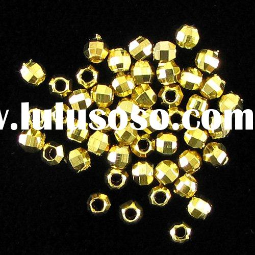 Jewelry findings 3mm 925 sterling silver 14k Gold plated faceted spacer beads