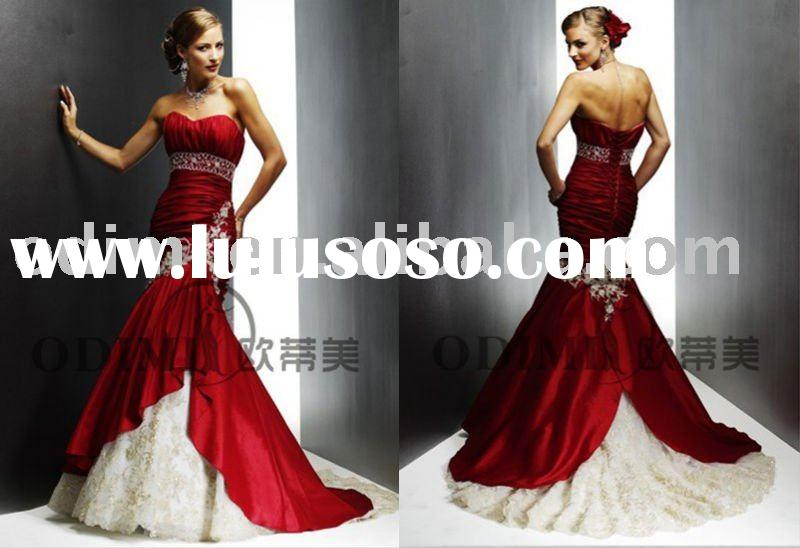 Kingly Backless Mermaid Red Wedding Dress 2011