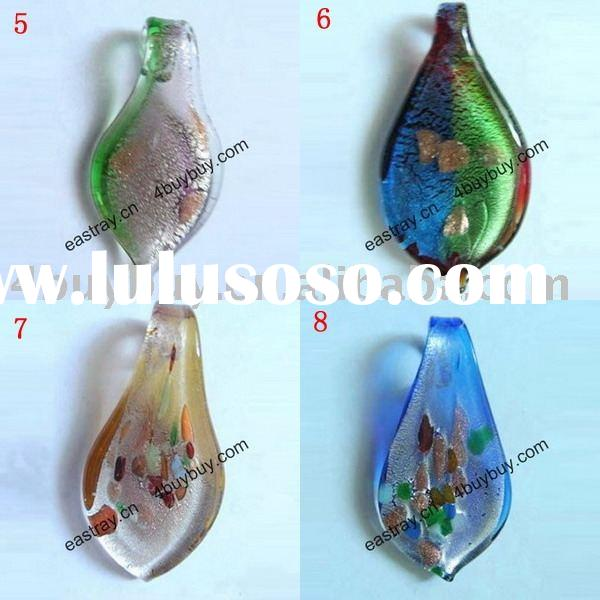 Lamp work glass beads, glass beads, murano glass beads, glass pendant, leaf pendant.