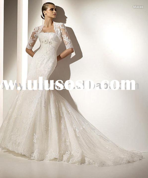 Lastest style Lace over wedding dresses/bridal gowns,appliqued modern wedding gown with beaded band