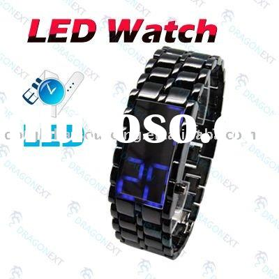 Lava Samurai Style Stainless Steel Blue LED Digital Wrist Watch