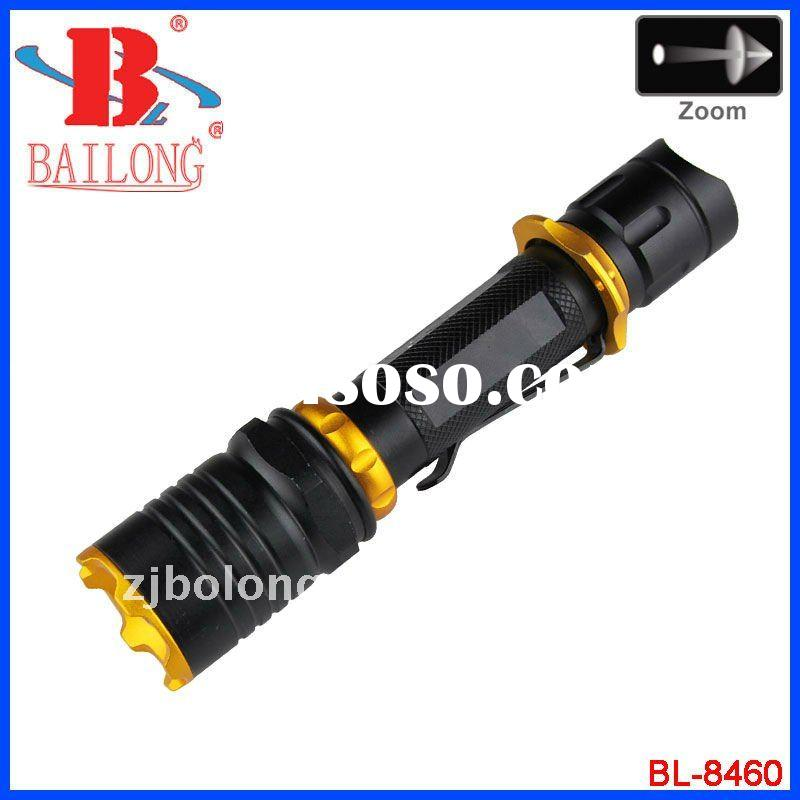 Led rechargeable flashlight/torch with zoom function