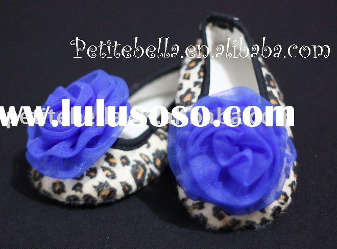 Leopard Print Shoes with Royal Blue Rosettes Pettishoes Crib Shoes MAS20