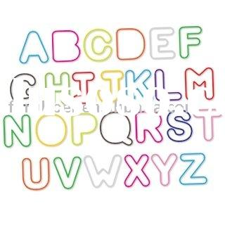 Letter shaped silicone rubber bands