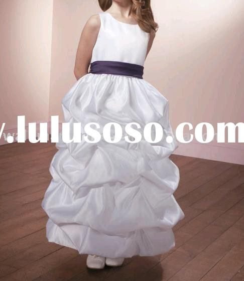 Little Queen FL024 Ball Gown Sash Ankle-length Satin White Flower Girls Dresses