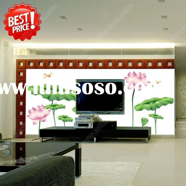 Lotus blossoms Dragonfly Dance bathroom kitchen living room wall stickers plants TV backdrop of larg