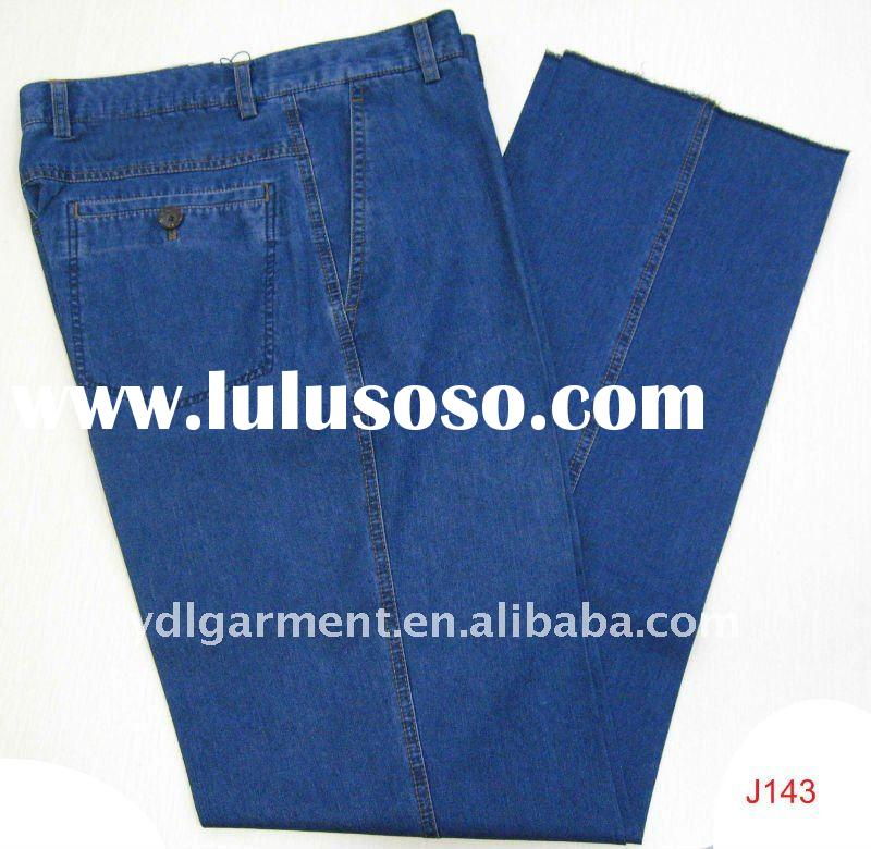 Men's loose fit casual style cotton blend blue denim jeans