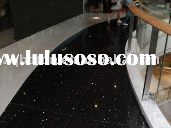 Mirror Flecks Silver Star Black artificial stone/ quartz stone floor tile/ Engineered Stone